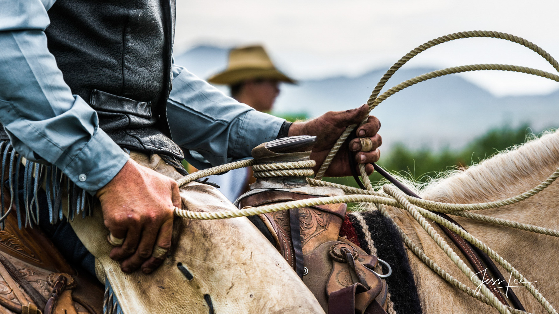 Working Cowboy Photos Wyoming cowboys hands show what hard work means. While firmly holding his horse ready for action, the hands...