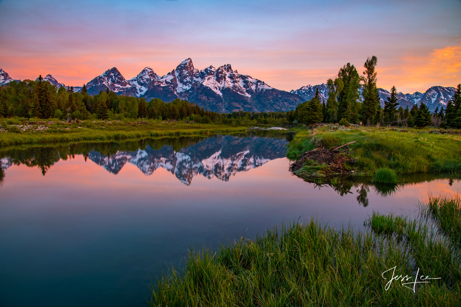 photo of Grand Tetons in Wyoming, Jackson Hole, mountain photography, alpenglow, national park, landscape photos, mountain range, forest, evergreens, sunset, lake, river, Snake River, fine art, photog, photo