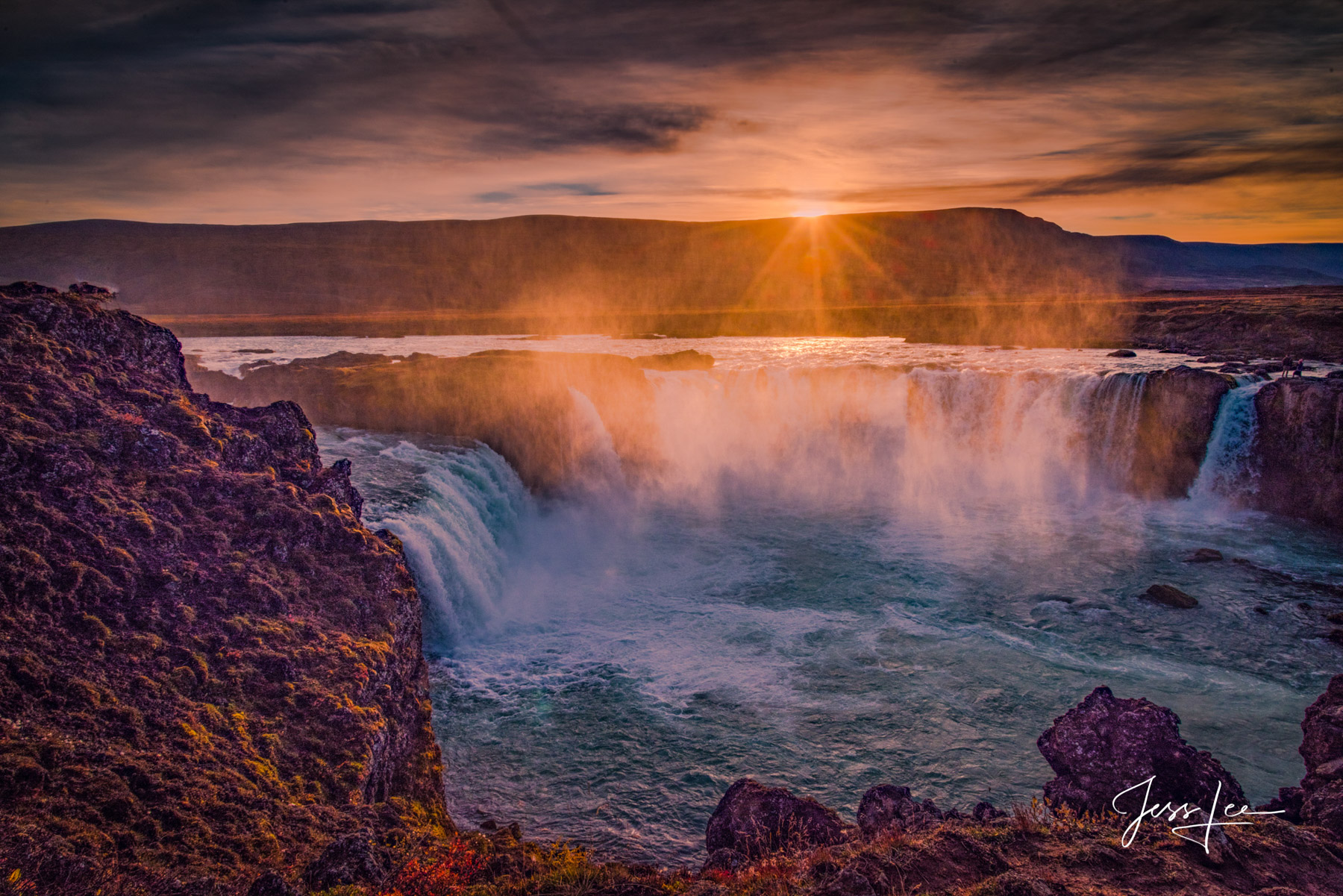 Limited Edition of 50 Exclusive high-resolution Museum Quality Fine Art Prints of Gooafoss Sunset. The origin of the waterfall...
