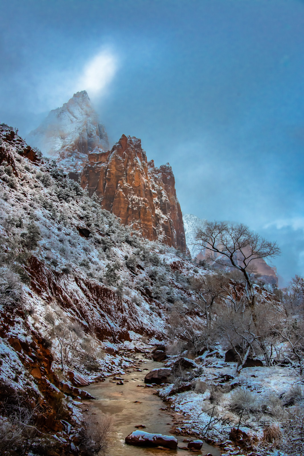 Limited Edition of 50 Exclusive high-resolution Museum Quality Fine Art Photography Prints of Zions light beam in the American...