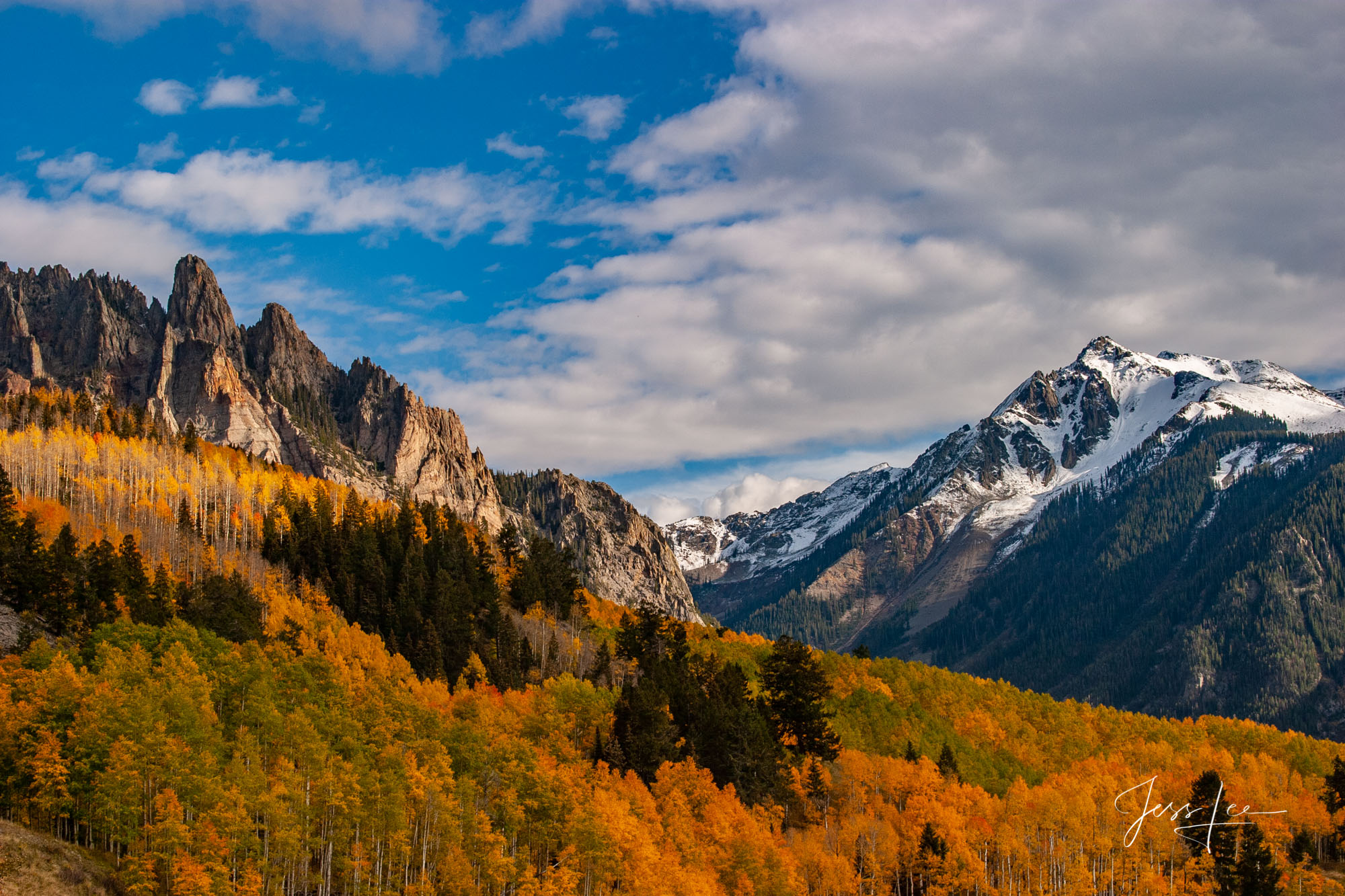 Fine Art Limited Edition Photography of Colorado. Colorado Autumn Landscapes of Trees on Lizard Pass. This is part of the luxurious...