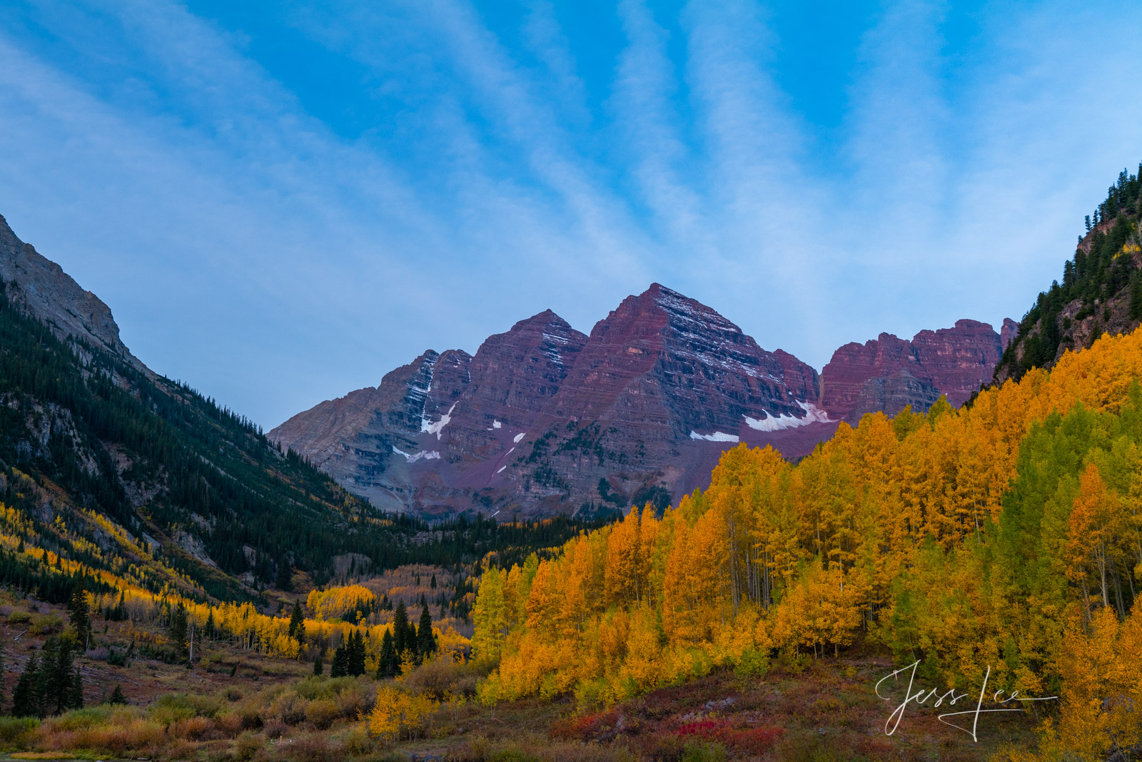 A Colorado Fall Color Print of Maroon Bells Updraft  during the peak of Autumn Color in southeast Colorado. A limited Edition...
