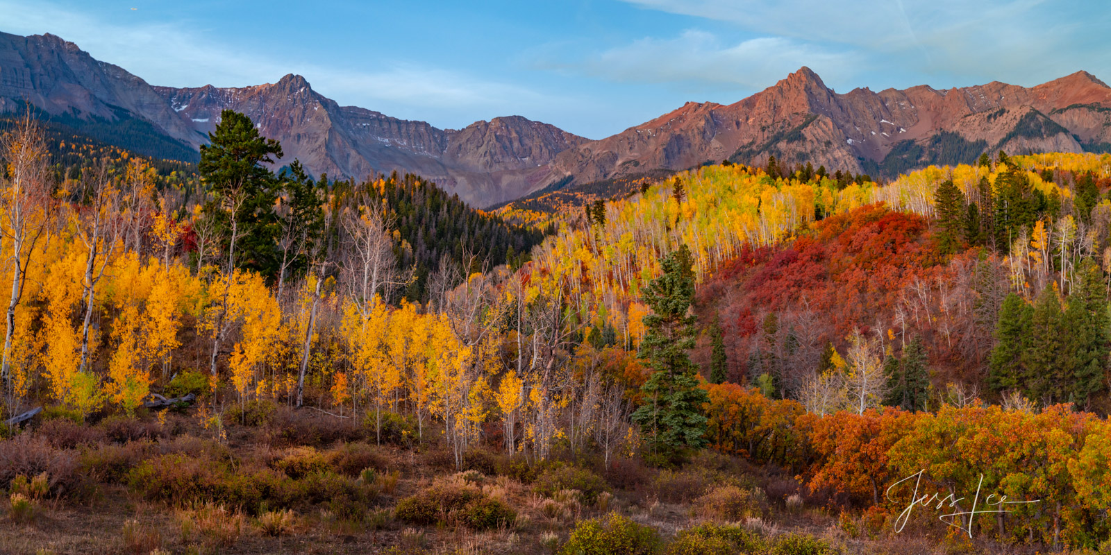 A Colorado Fall Color Print of the San Juan Mountains Red Panorama during the peak of Autumn Color in southeast Colorado. A limited...