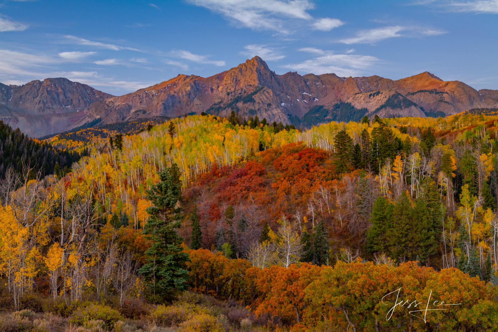 A Colorado Fall Color Print of the San Juan Red during the peak of Autumn Color in southeast Colorado. A limited Edition Fine...