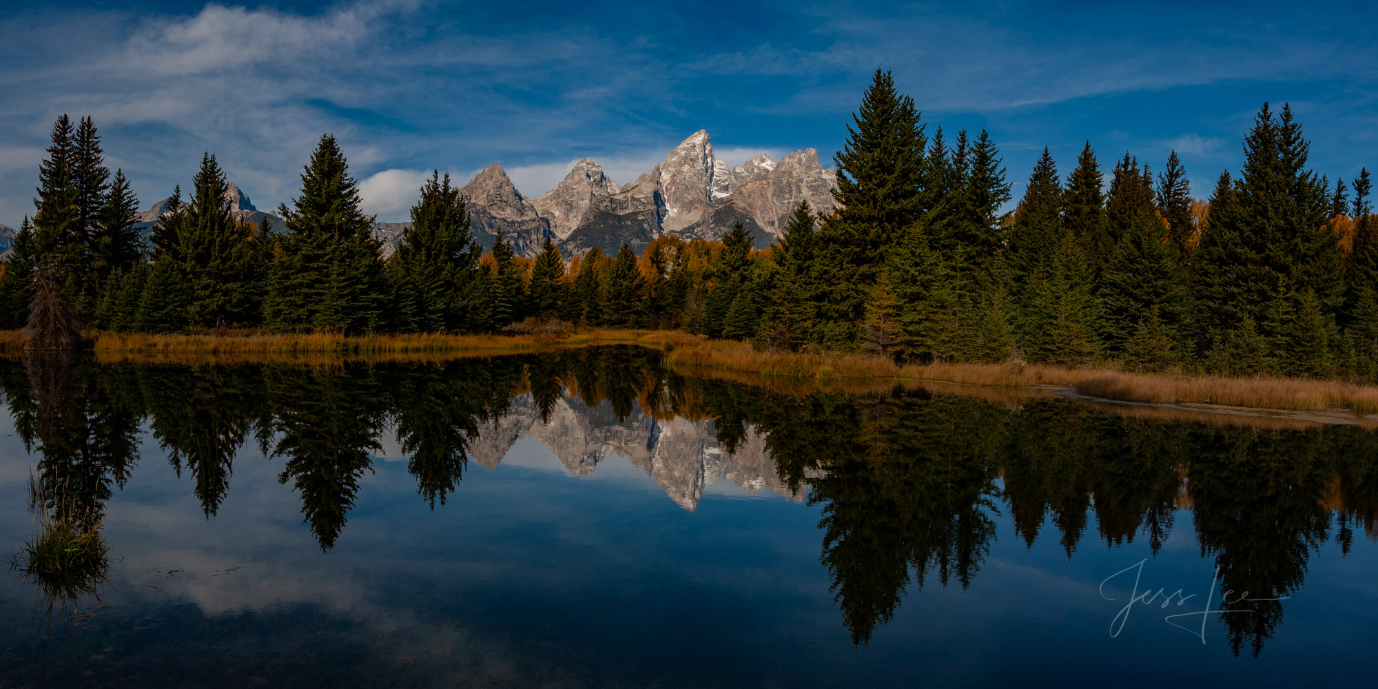100 Fine Art Photo prints of the Teton Mountain Range Reflecting in a beaver pond. A crisp cool autumn morning with a few thin...