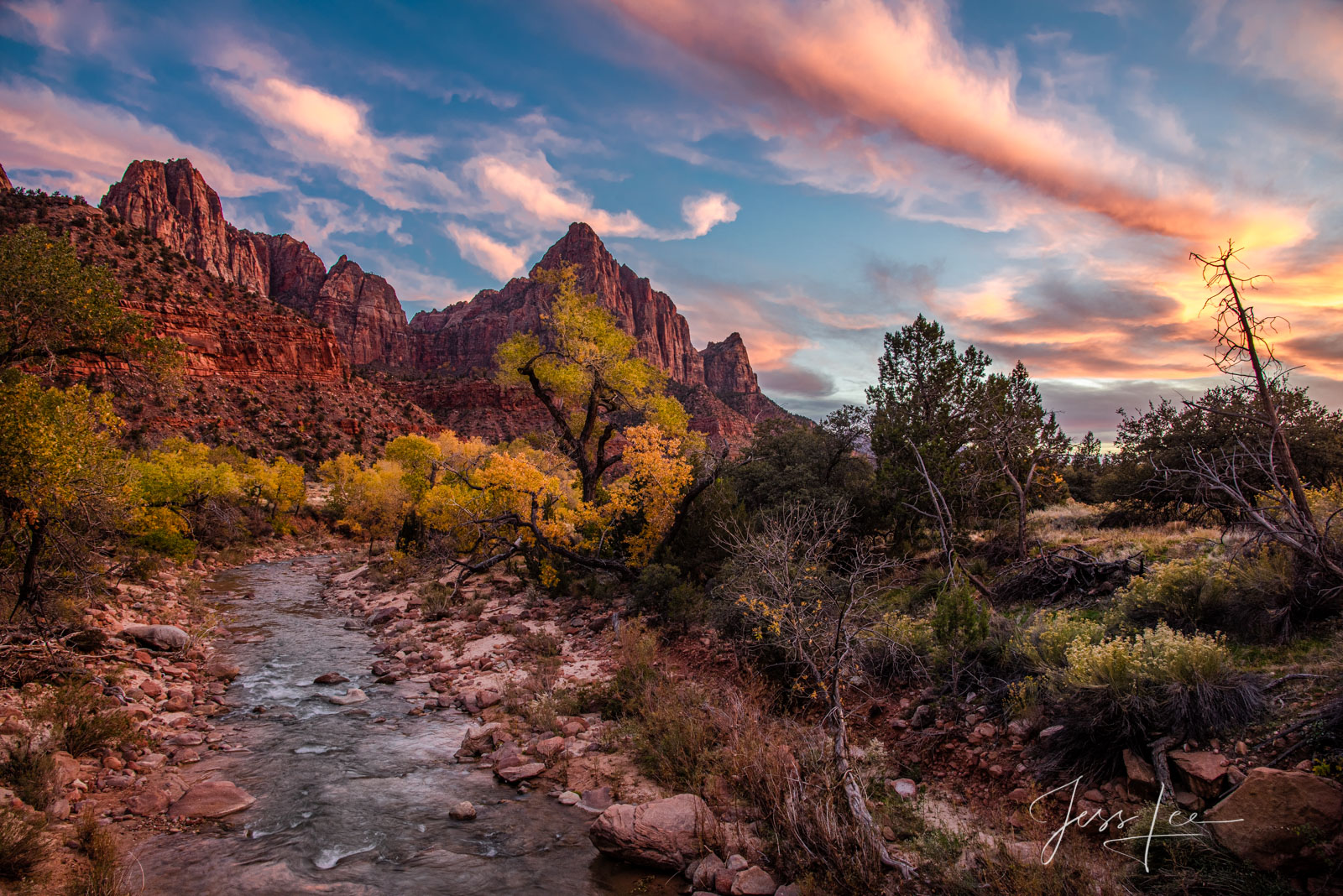 Autumn Evening over the Virgin River at Zion in the the American Southwest.