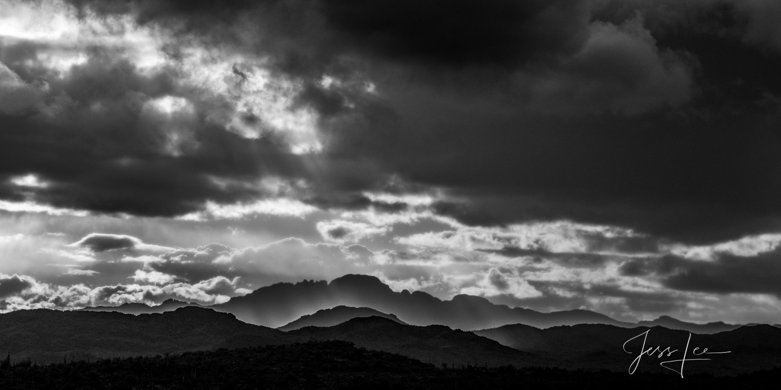 Bring home this classic style Black and White, Desert Southwest,  Fine Art Print Summer Rains. A Limited Edition of 50.  Copyright...