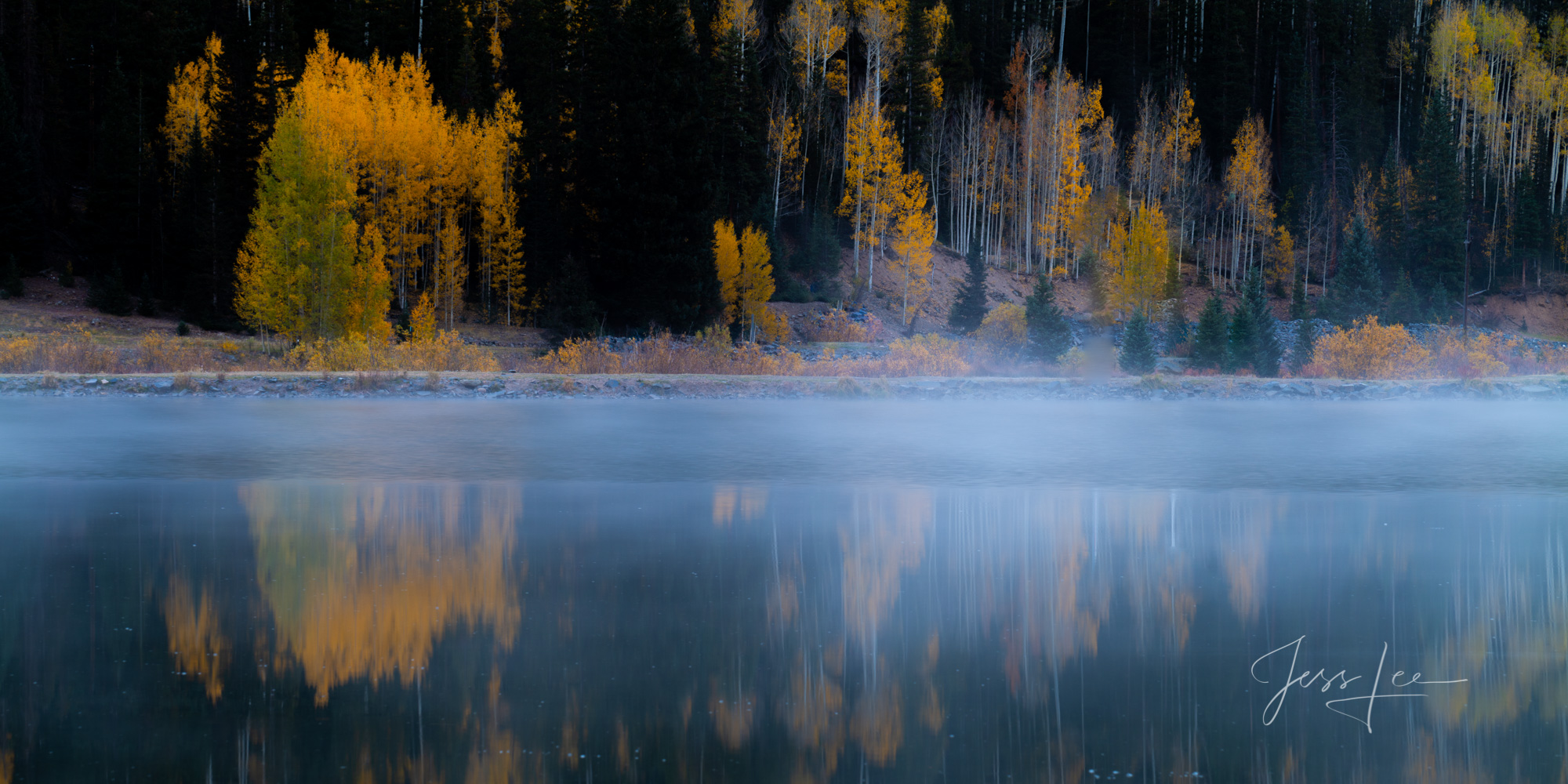 A Colorado Fall Color Photography Print of Crystal Lake  taken during the peak of Autumn Color in southeast Colorado. A limited...