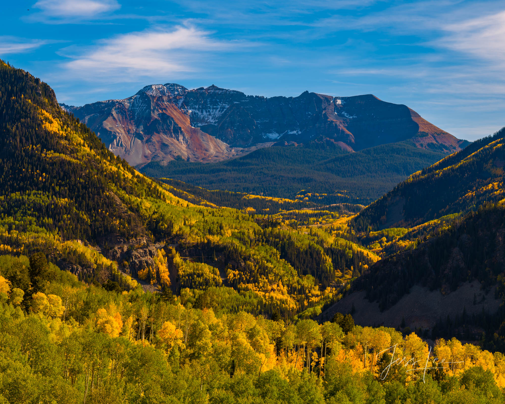 A Colorado Fall Color Photography Print of Dallas Divide taken during the peak of Autumn Color in southeast Colorado. A limited...