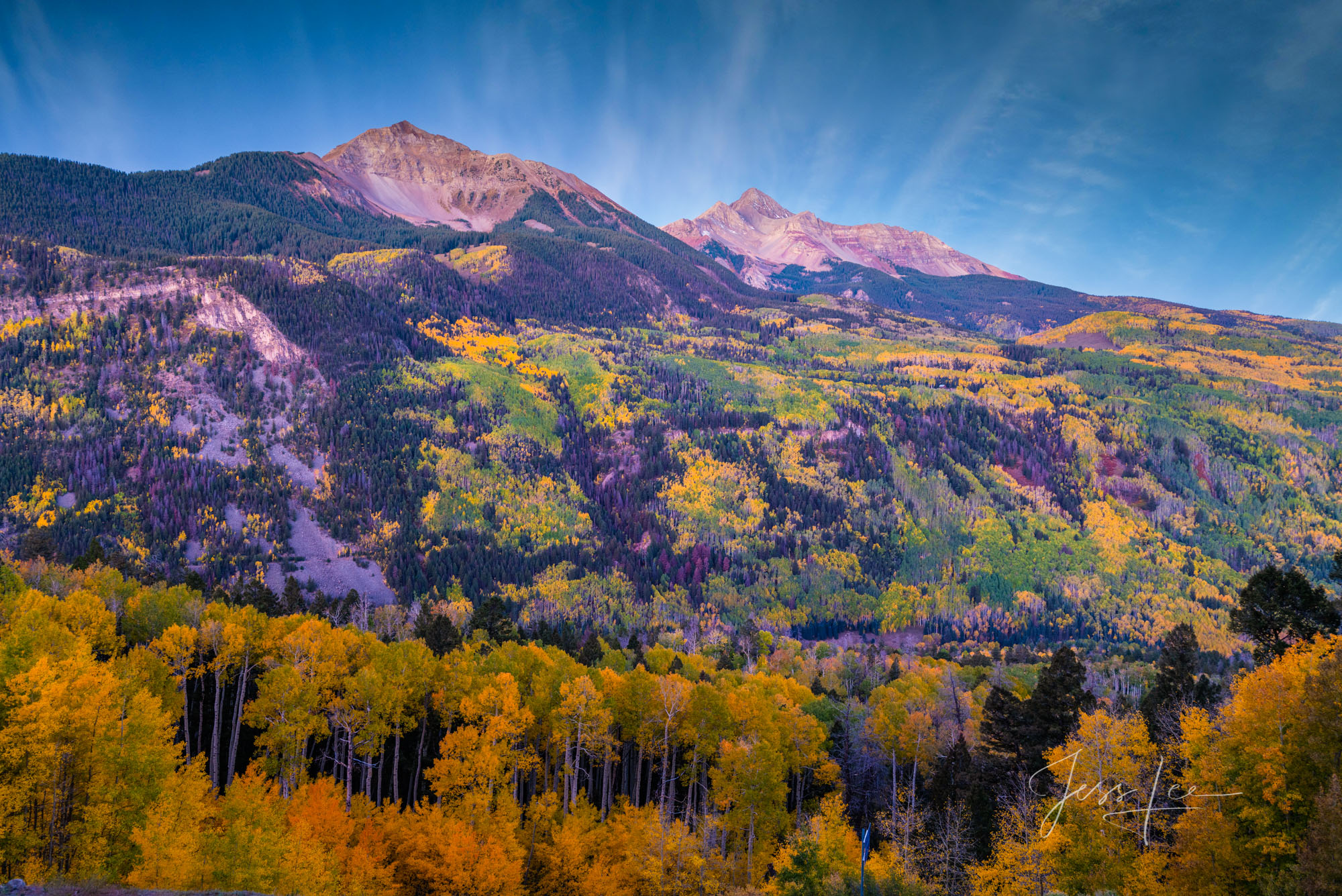 A Colorado Fall Color Photography Print of Wilson peak taken during the peak of Autumn Color in southeast Colorado. A limited...