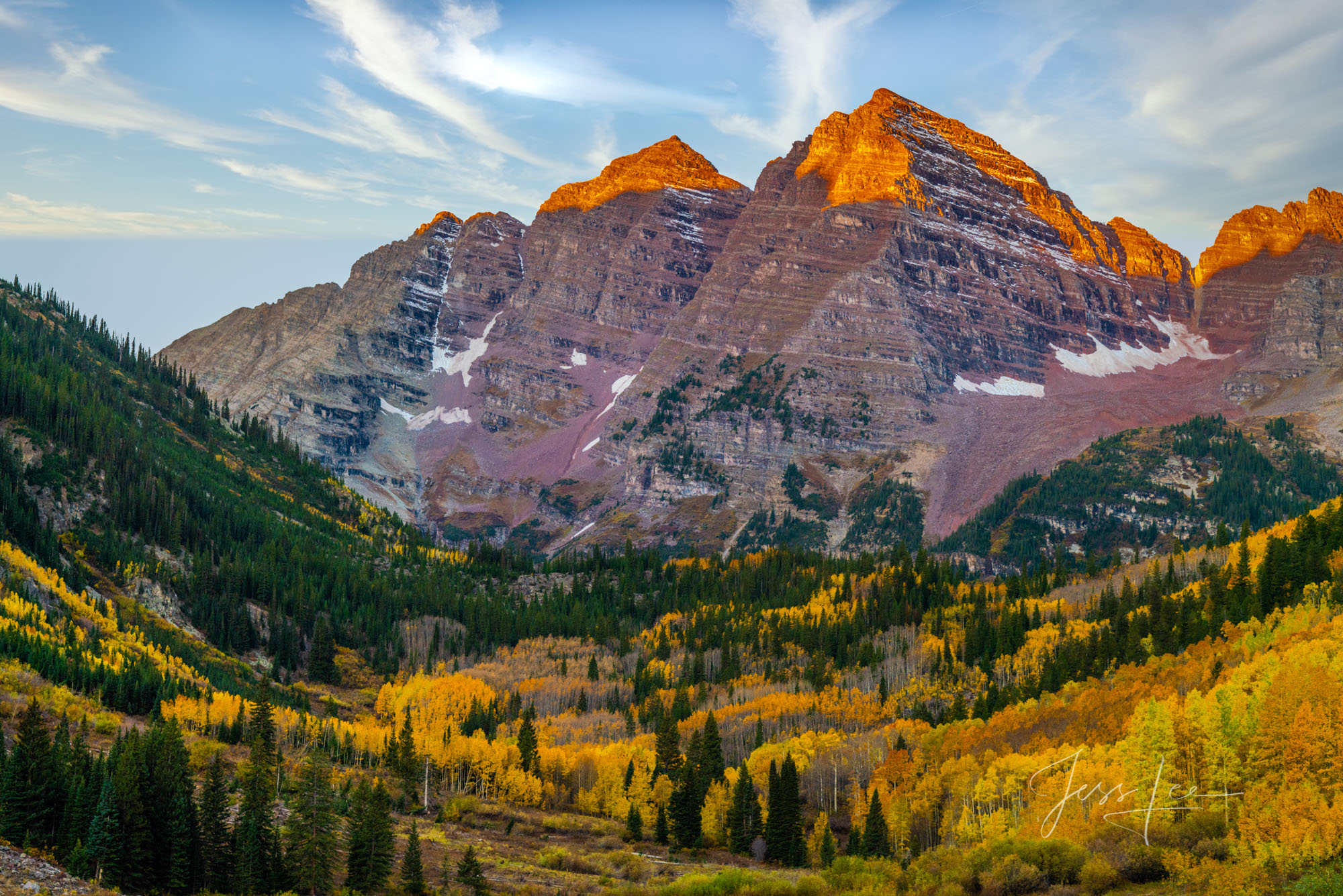A Colorado Fall Color Photography Print of Maroon Bells taken during the peak of Autumn Color in southeast Colorado. A limited...