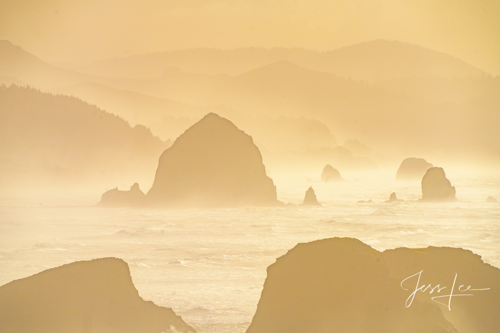 Sunset storm at Canon Beach on the Pacific coast