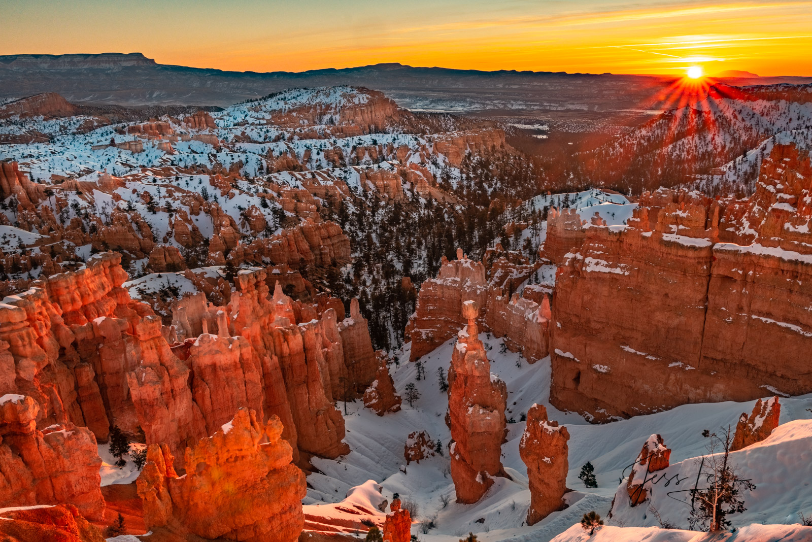 Limited Edition of 50 Exclusive high-resolution Museum Quality Fine Art Prints of Winter Sunrise in Red Rocks Country Bryce Canyon...