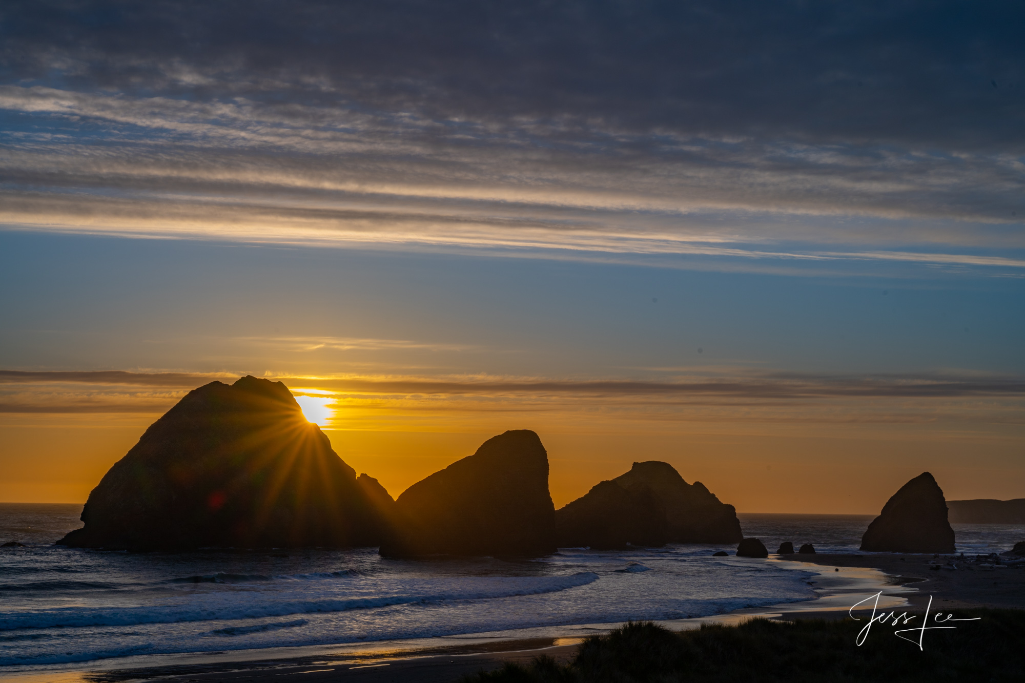 oregon, sunset, western, beach, ocean, waterfall, trees, water, , photo