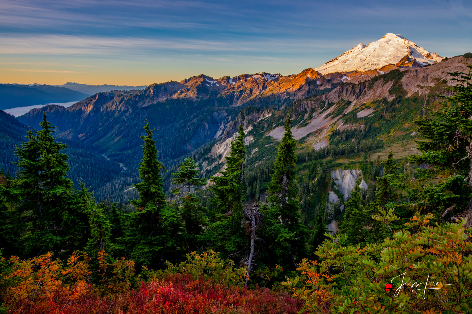 Mt Baker,  Mountains, trees, snow, fall, color,, photo