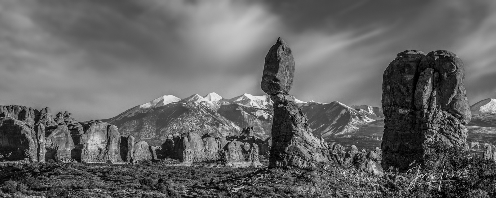 FINE ART LIMITED EDITION BLACK AND WHITE PHOTOGRAPHIC PRINT OF BALANCED ROCK IN ARCHES NATIONAL PARK Arches Landscape photo print...