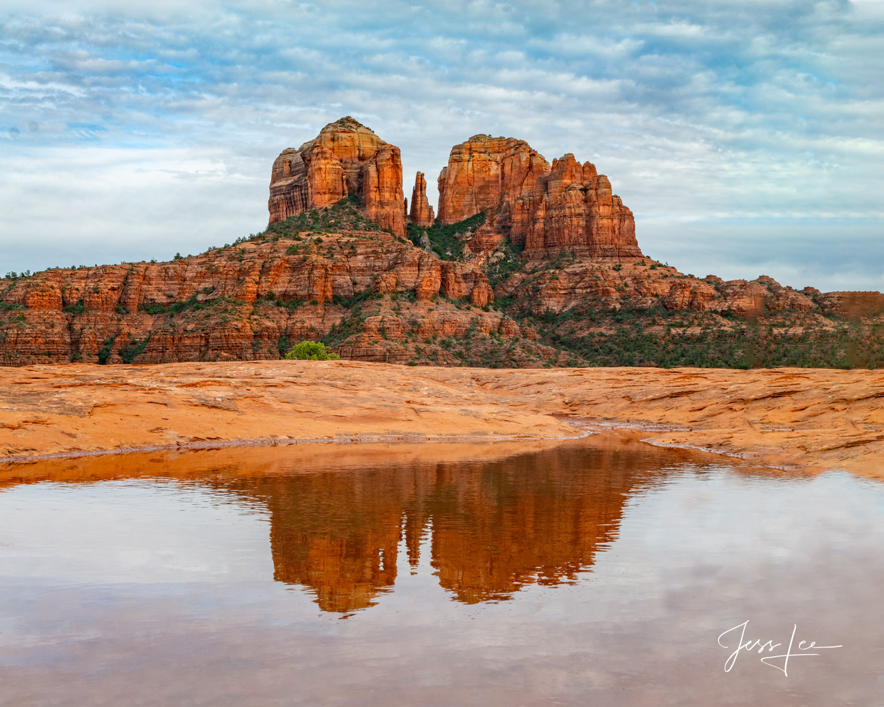 Reflection of Cathedral Rock, a sandstone butte on the Sedona skyline in Arizona.