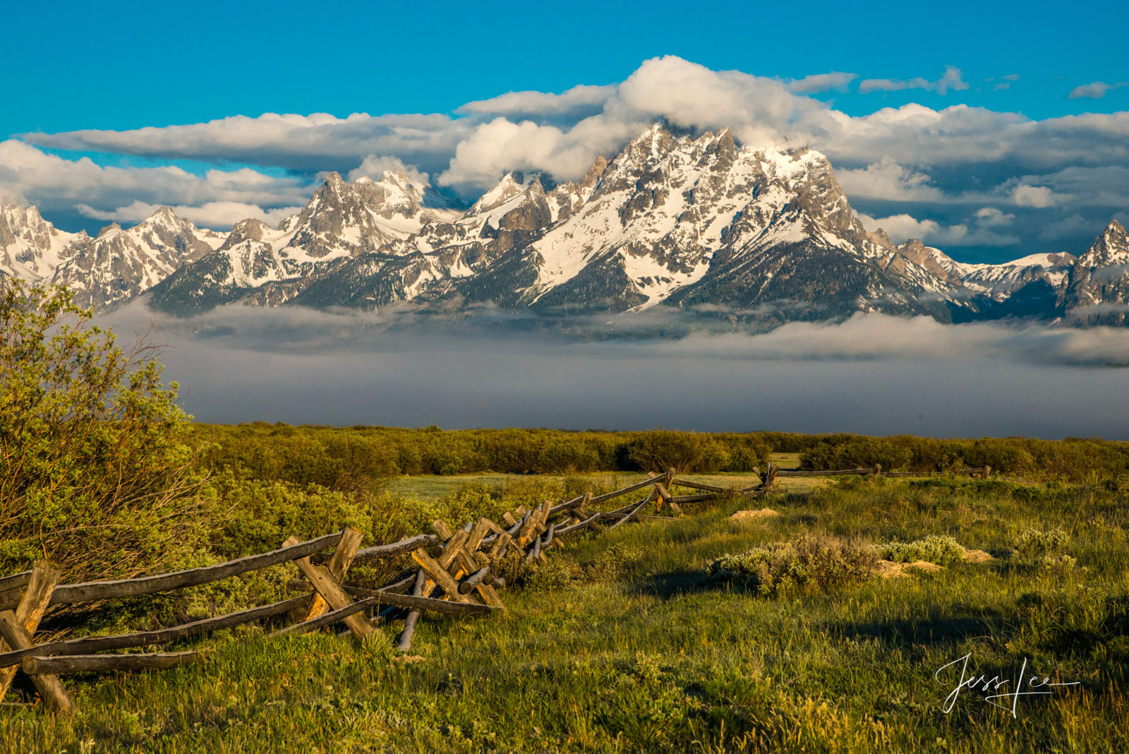 photo of Grand Tetons in Wyoming, National Park photography, landscape photos, mountain scene, cross buck fence, wildlife, snow, trees, summer, green pasture, ranch, museum quality, fine art, print, j, photo