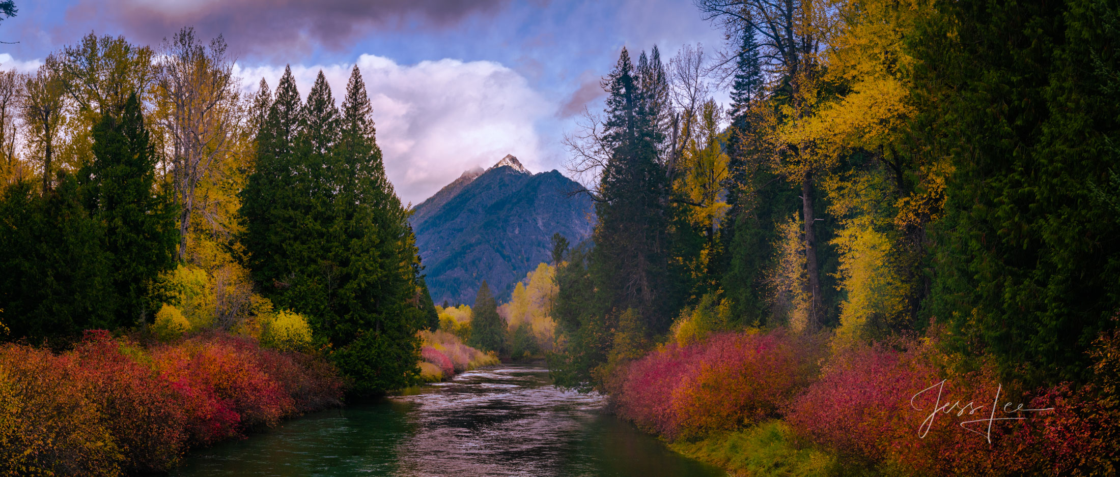 A Limited Edition, Fine Art photograph of a beautiful scene of brilliant fall colors along the Wenatchee River in Washington...
