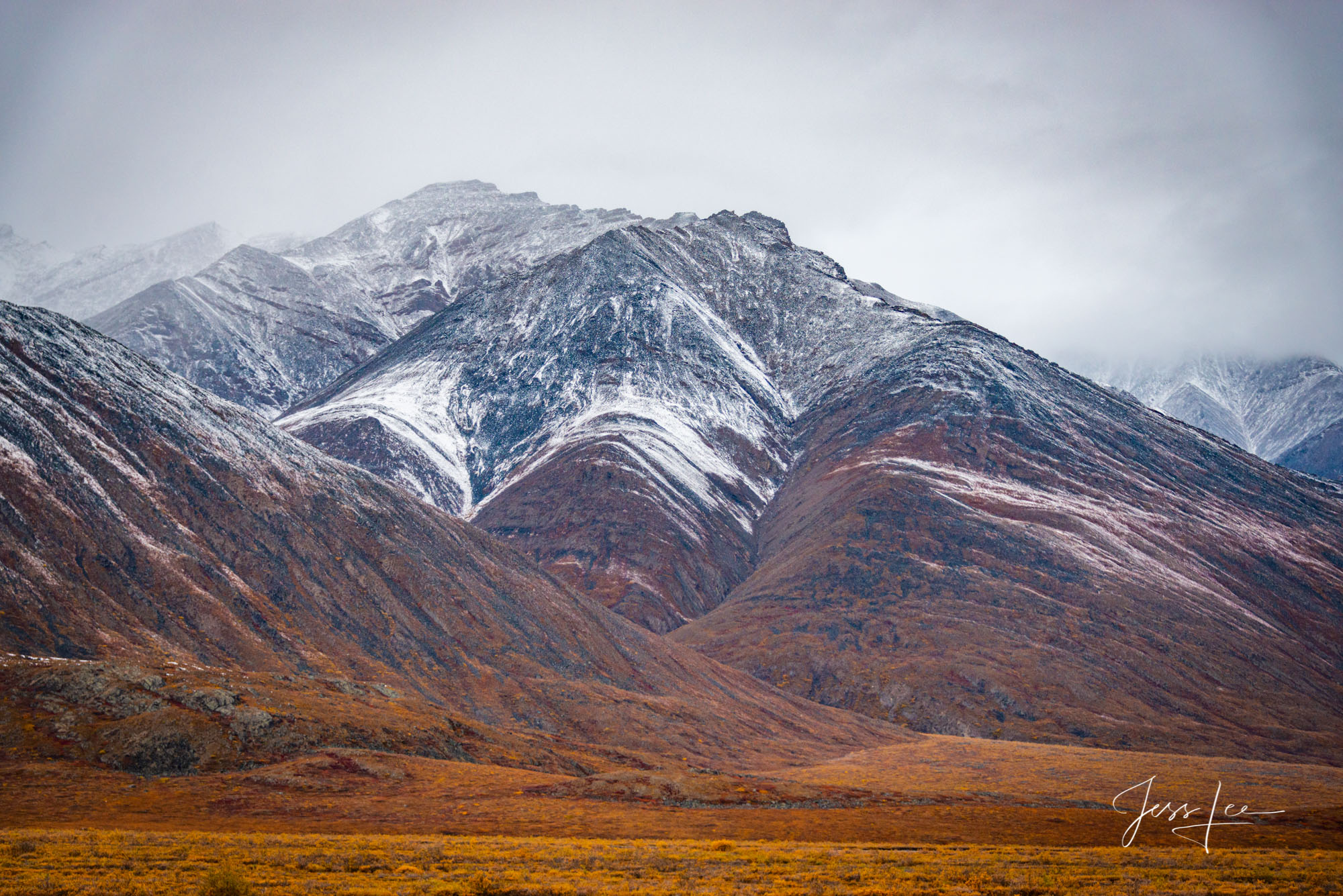 Light dusting of snow covering the hills in Alaska's arctic