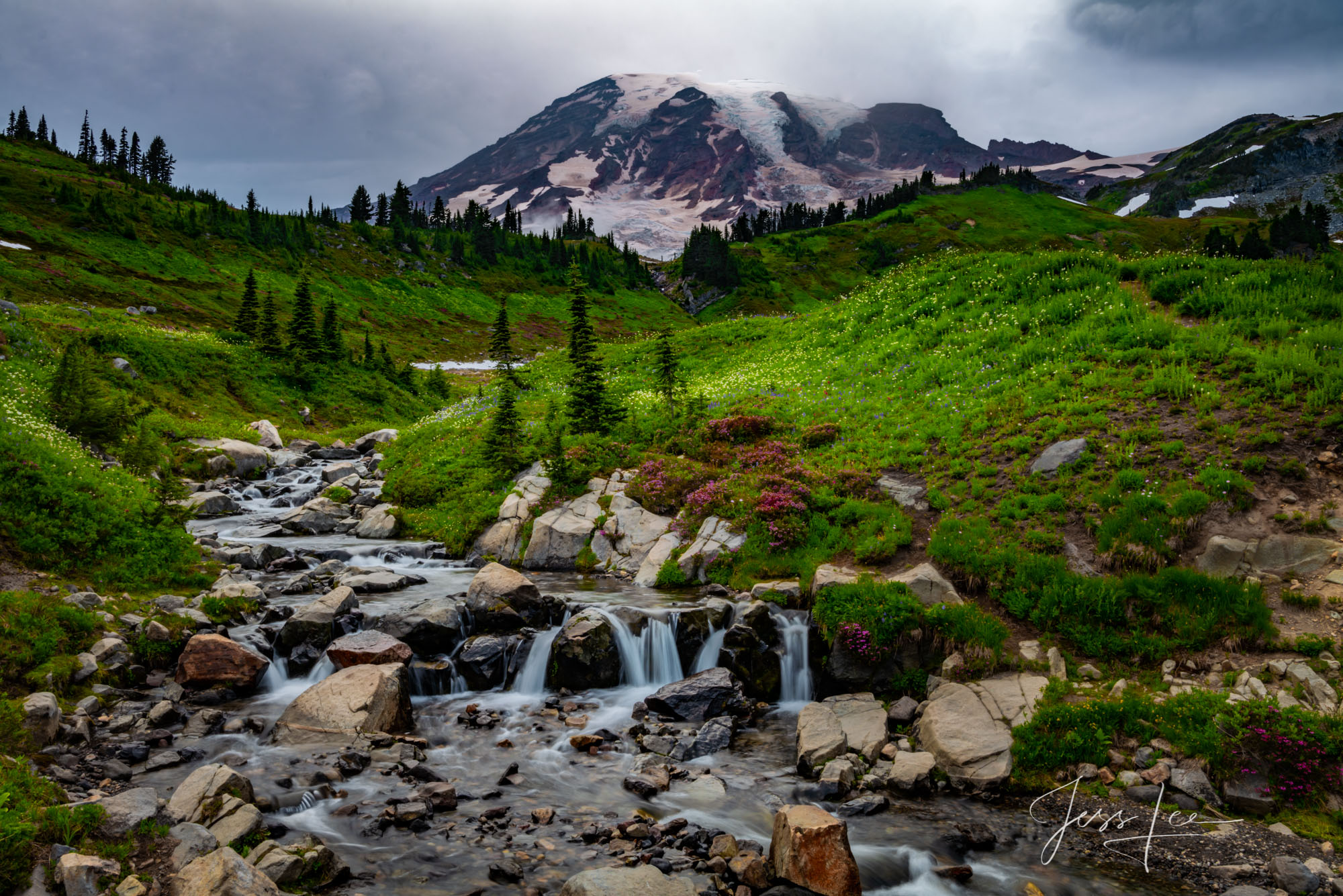 Mt Rainier Summer Limited Edition Fine Art Photography. Edith Creek above the Paradise Ranger Station Cascading down from Mount...