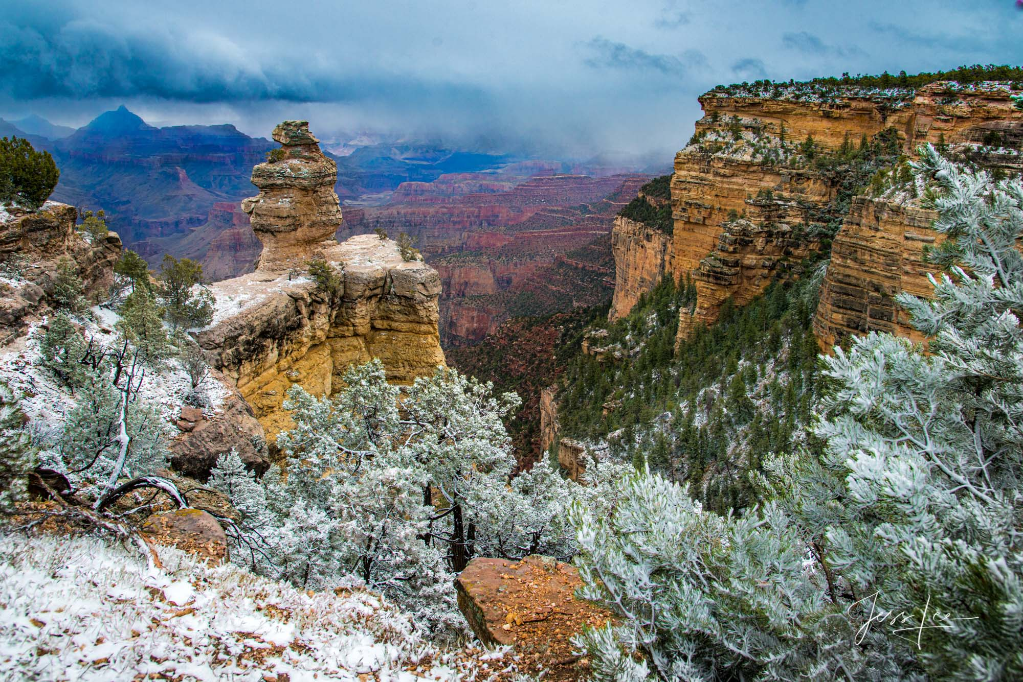 Arizona's Grand Canyon covered in a thin layer of snow.