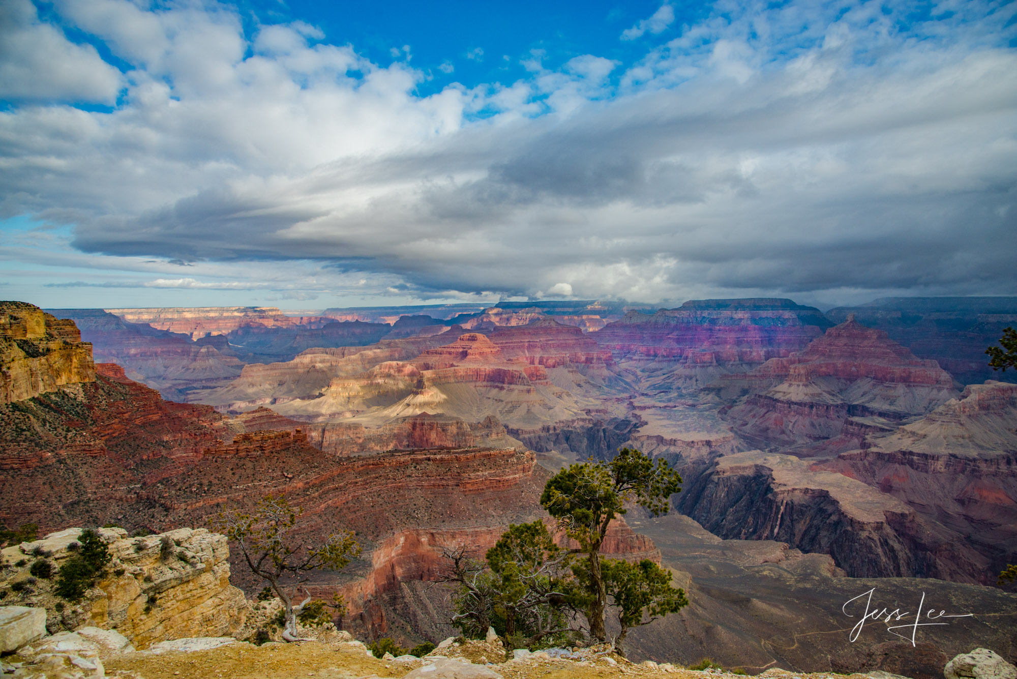 Fluffy clouds over the Grand Canyon.