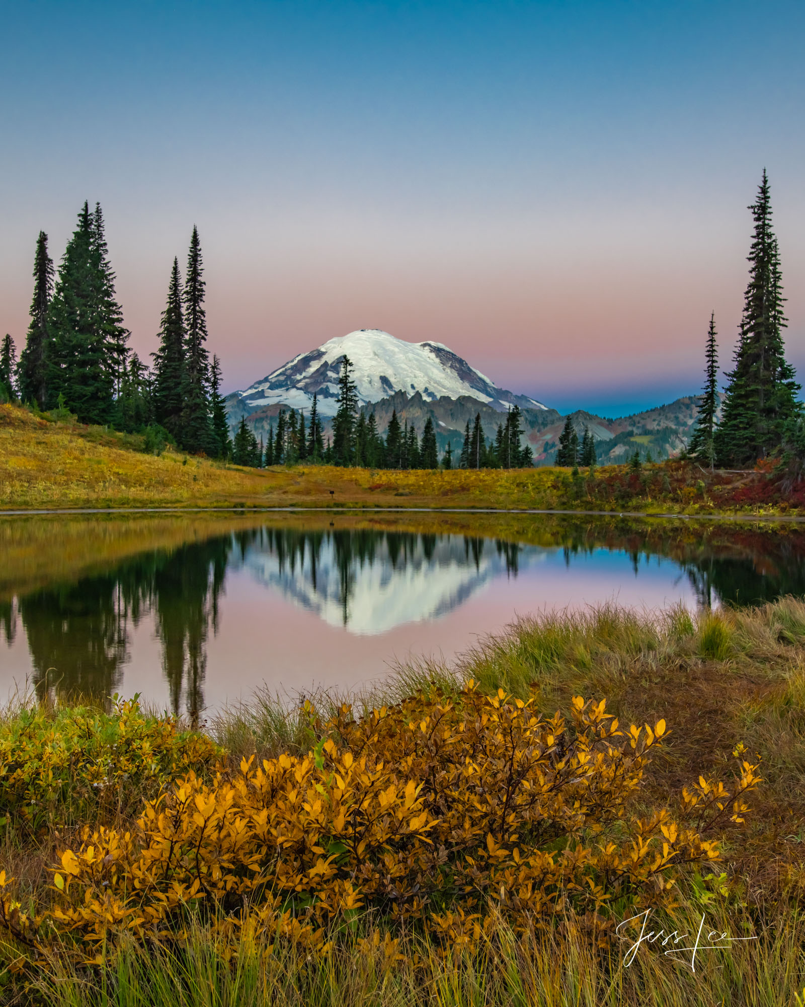 photo of Mount Rainier, reflection, Washington landscape photography, Pacific Northwest, PNW, evergreens, pine trees, lake, water, fall, autumn colors, fine art print, nature photography, National Par, photo