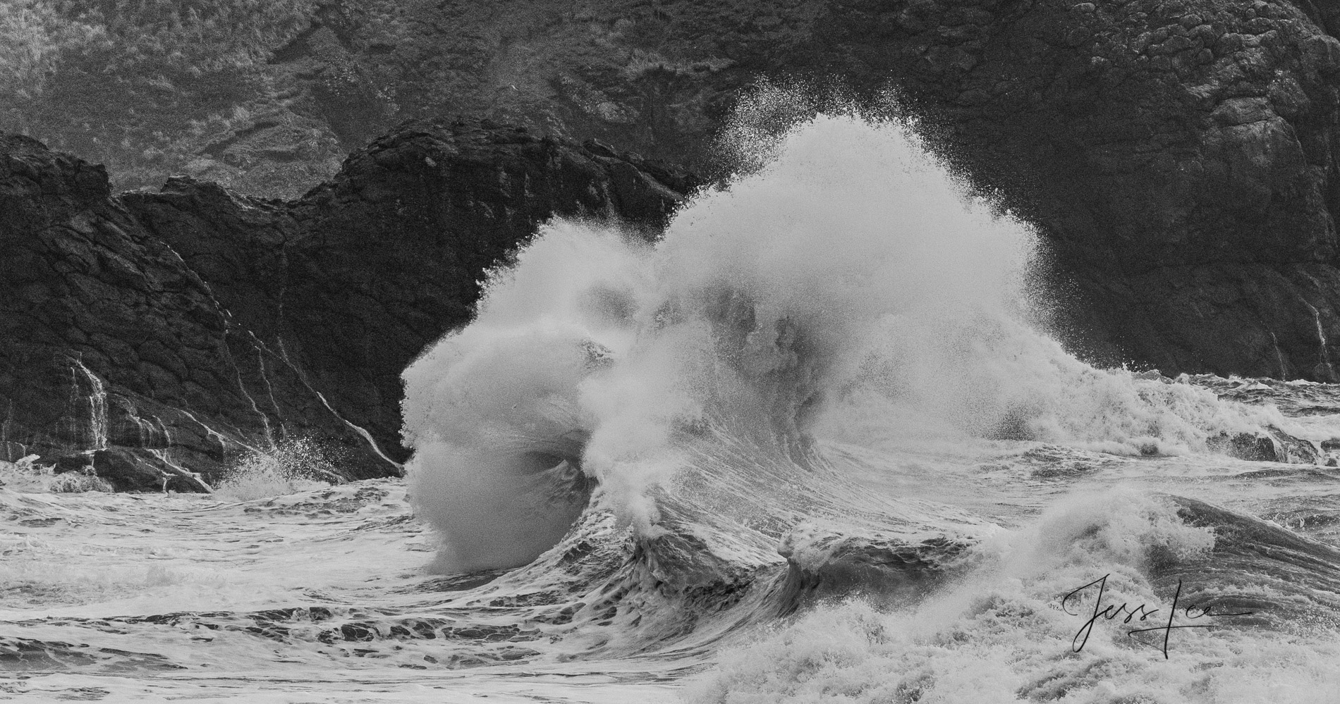 Limited Edition Fine Art Ocean Wave breaking on a rocky Washington State coast during a Winter Storm.