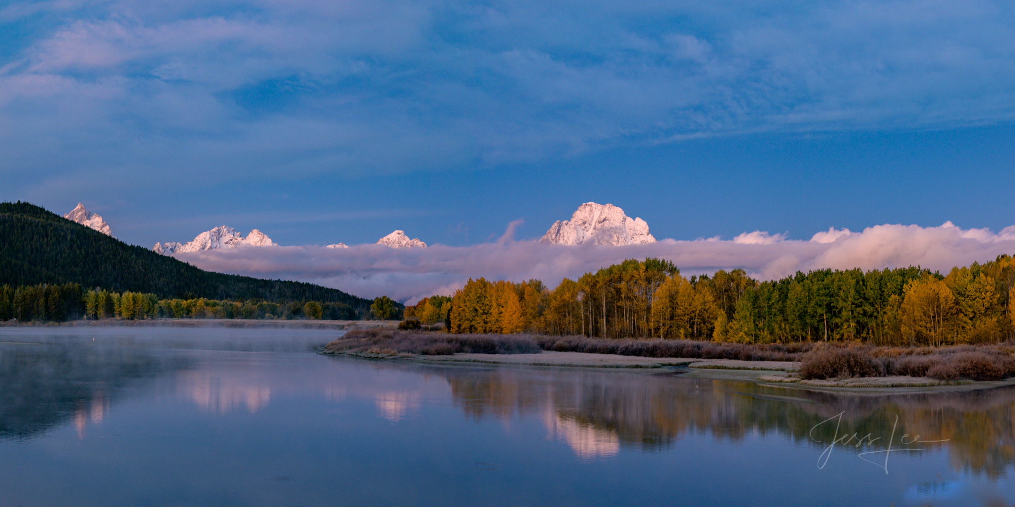 Grand Tetons oxbow bend Snake River photography, river, lake, water, reflections, mountain scene, landscape, Wyoming wilderness, nature, clouds, sunset, beautiful places, fall colors, trees,, photo