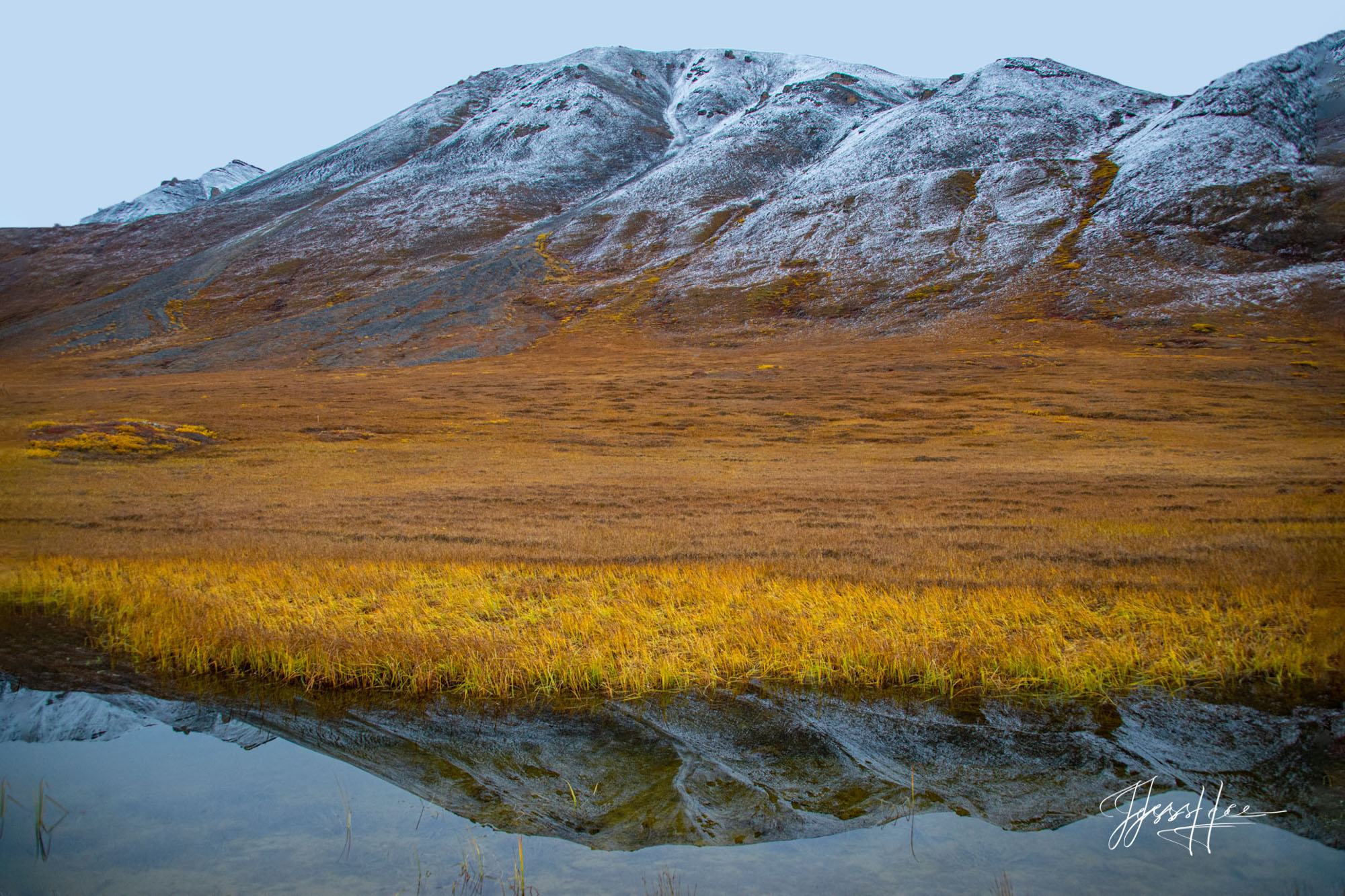 Mountain reflection in the Arctic tundra in Alaska