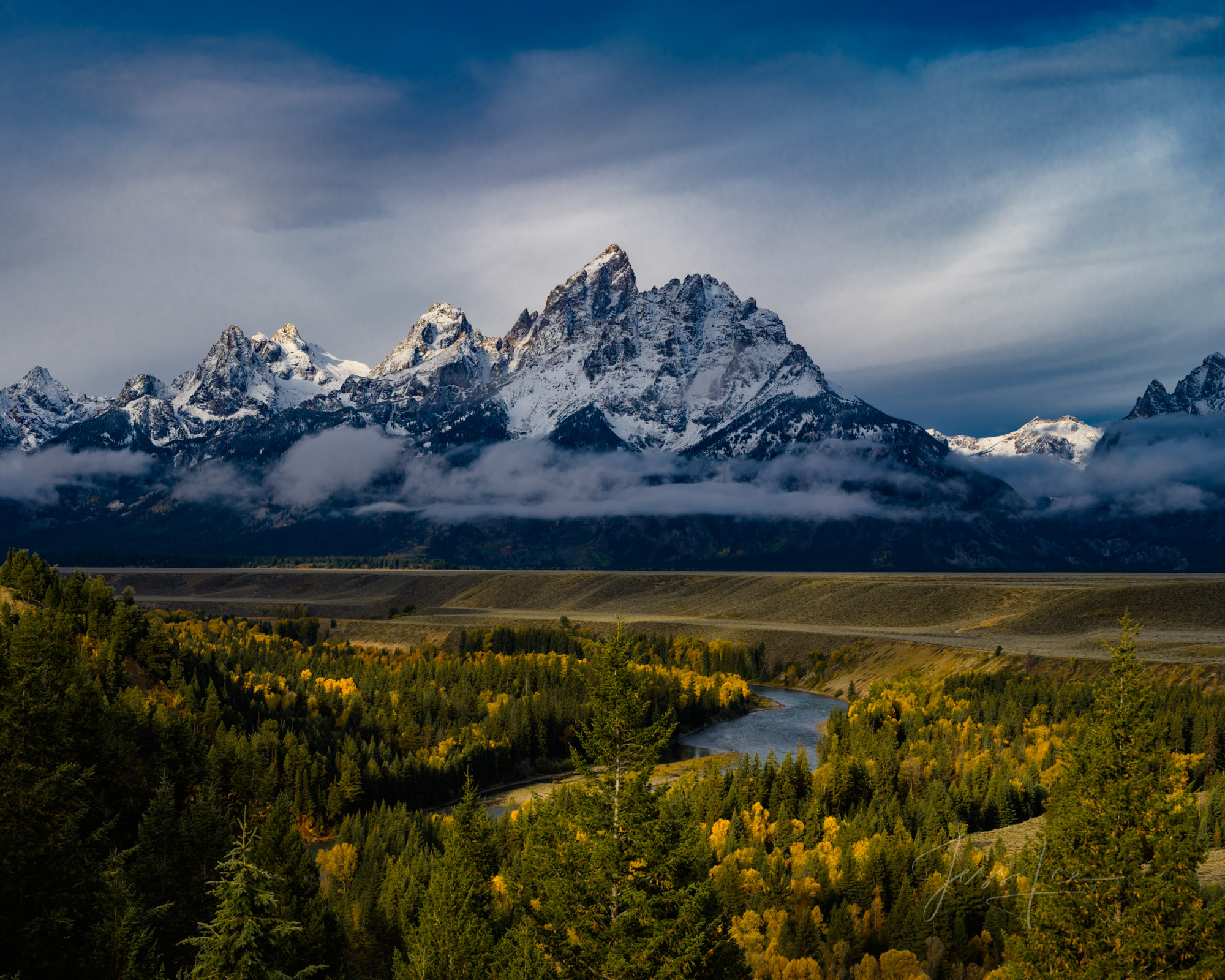 Limited Edition of 200 Grand Teton Fine Art Prints  Overlooking the autumn leaves of the cottonwoods in the valley of the Snake...