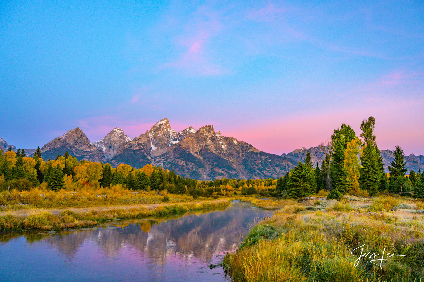 Limited Edition of 200  Museum Quality Fine Art Prints. Sunrise at Schwabachers Landing with a Autumn morning alpenglow. Photo...