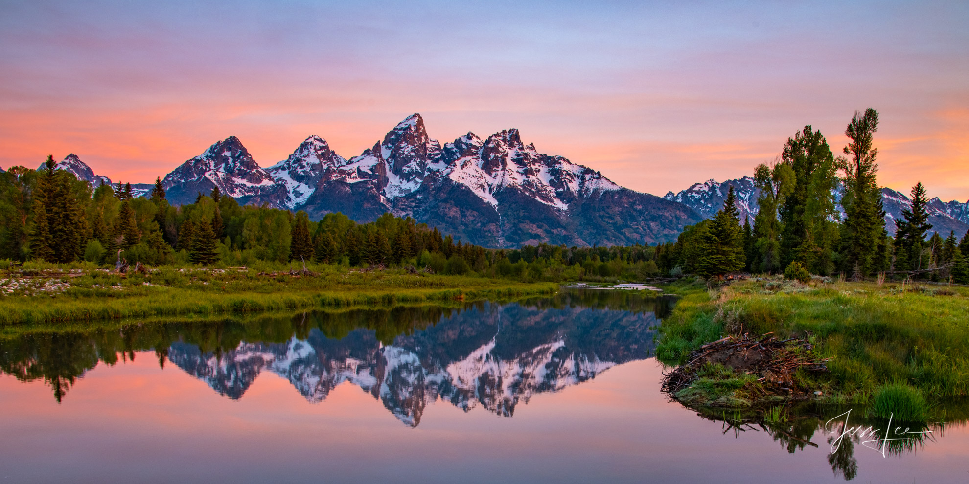 photo of Grand Tetons in Wyoming, Snake River photo, mountain photography, reflection in water, lake, river, fine art print, high resolution, quality, nature, wilderness, trees, evergreens, sunrise, s, photo