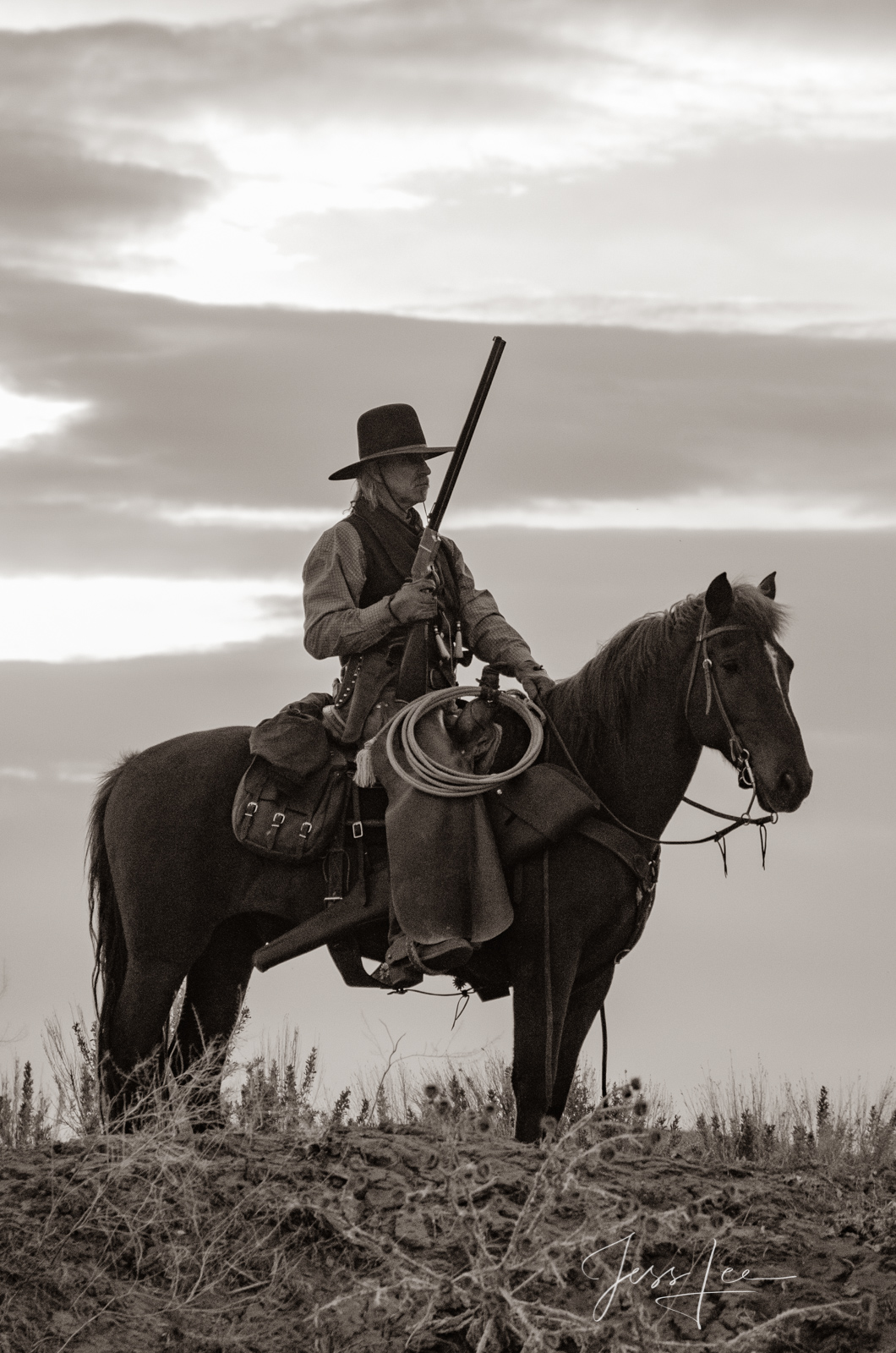Cowboy on horse night guarding cattle.