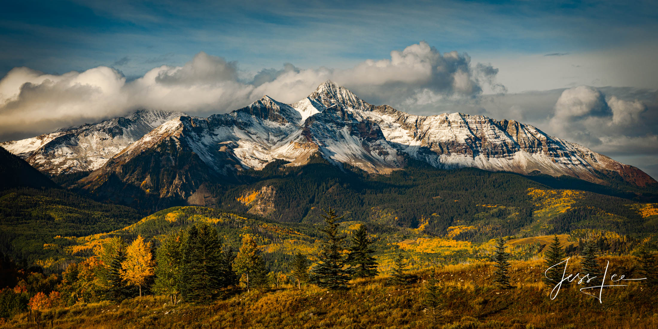 Mt Wilson Panorama in the soft morning light after a brief autumn snow fall.