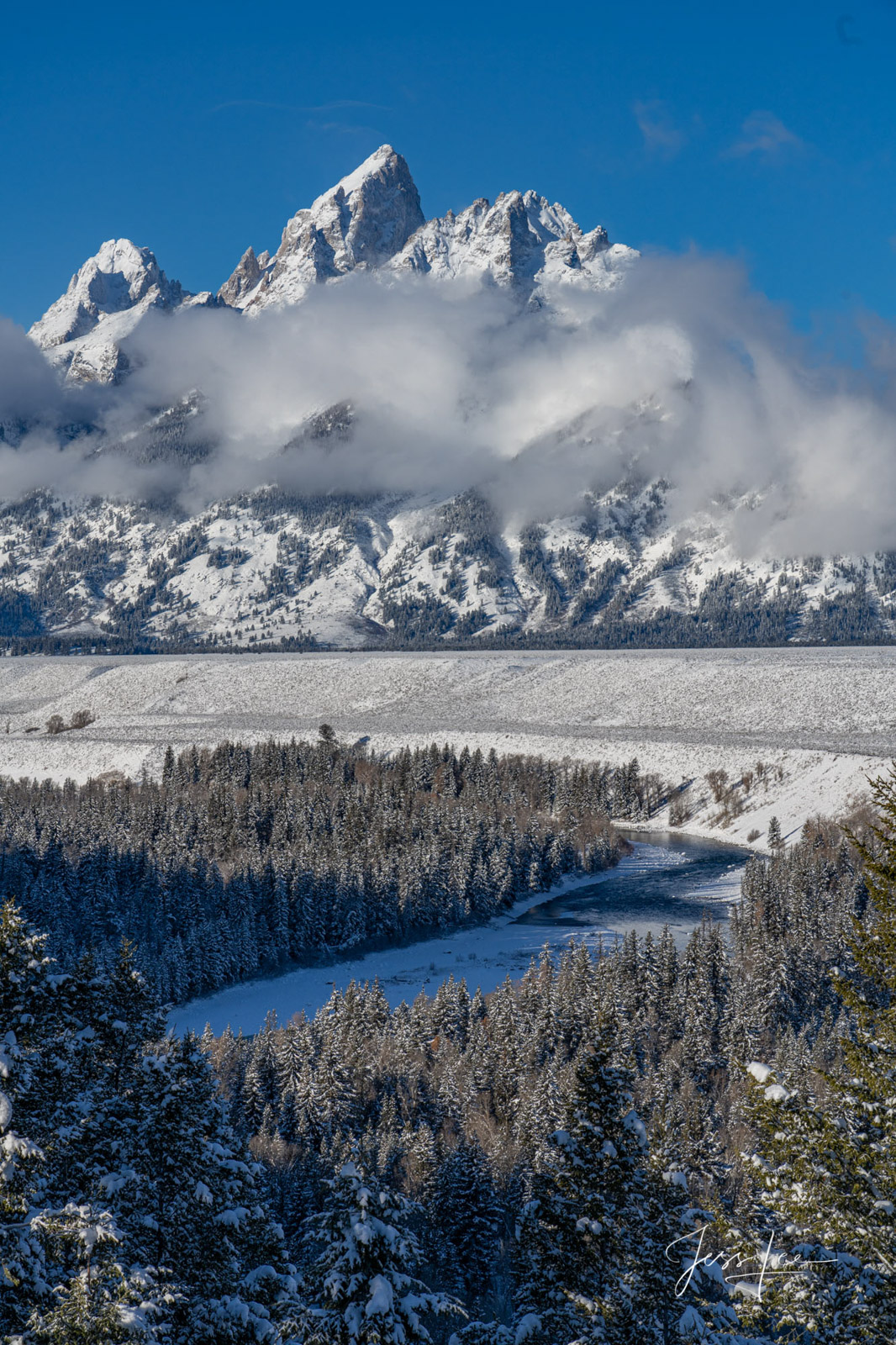 photo of Snake River Overlook in Grand Tetons, National Park photography, Wyoming photographer, Jackson Hole, fog, misty morning, clouds, blue sky, wildlife, snow, trees, Large format, cowgirl, ranch,, photo