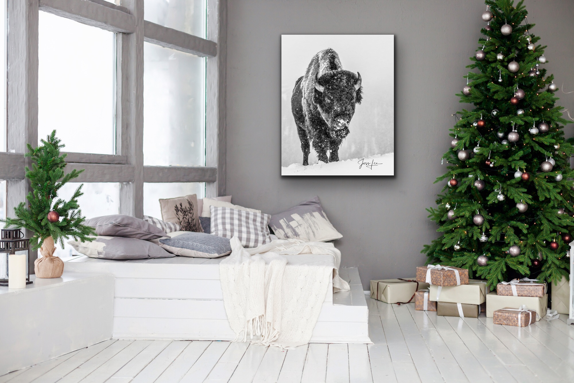 Elegant winter Bison print in Christmas decorated room.