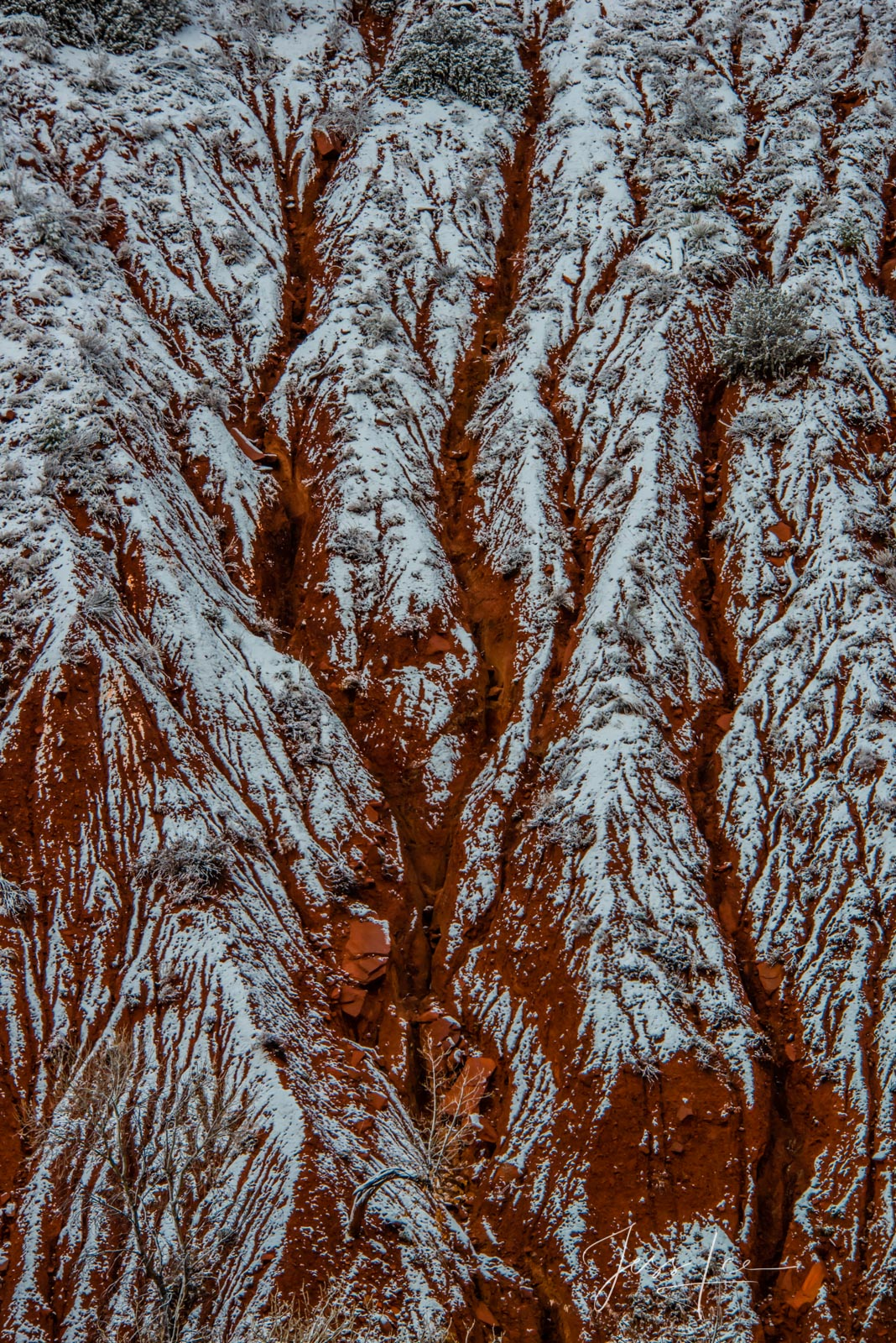 Limited Edition of 50 Exclusive high-resolution Museum Quality Fine Art Photography Prints of Red Winter Ridges Zion in Red Rocks...