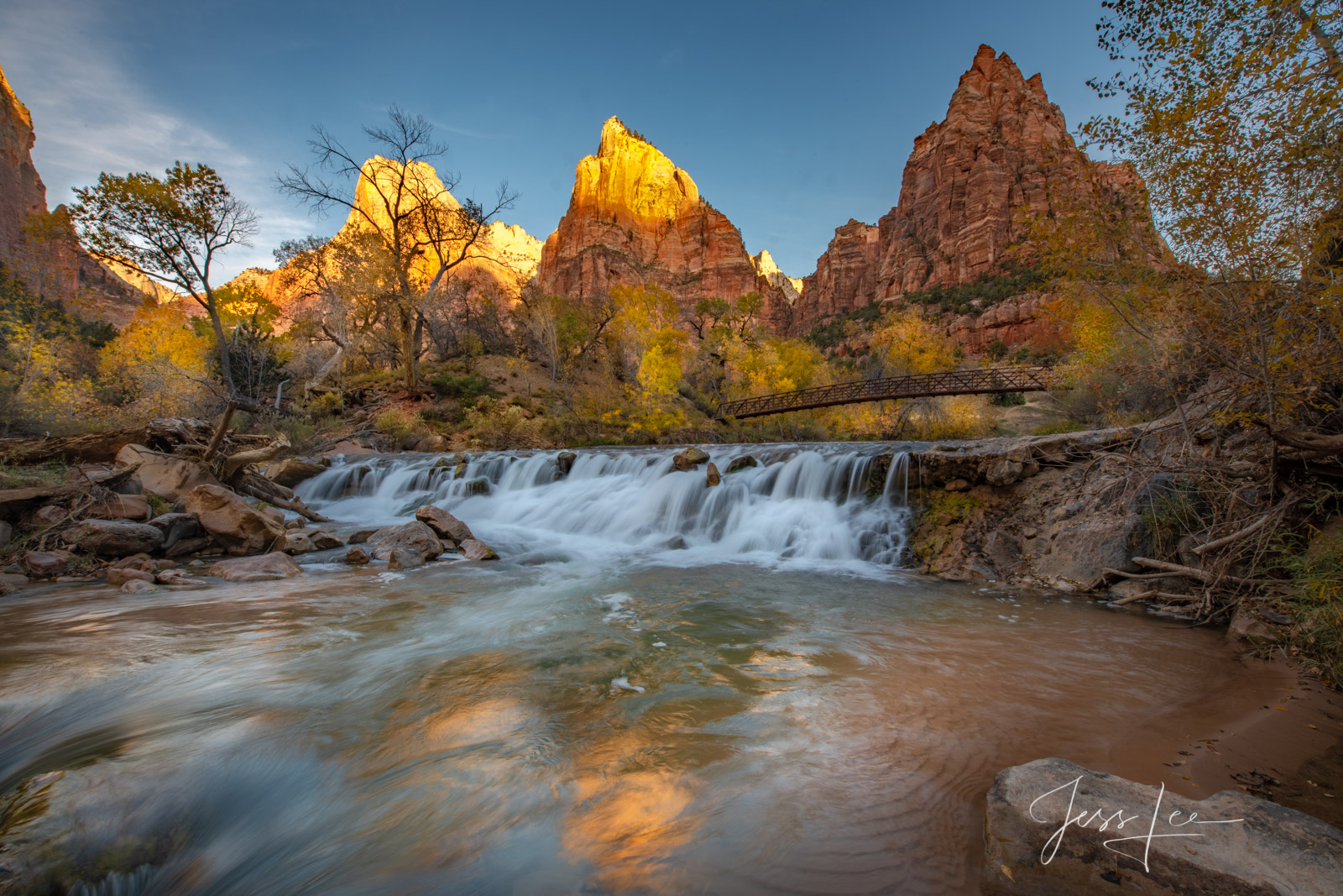 Limited Edition of 50 Exclusive high-resolution Museum Quality Fine Art Photography Prints of a Zion Autumn waterfall in the...